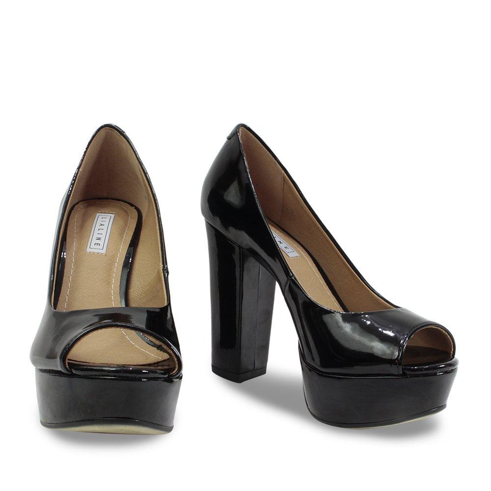 7a16ef97a Carregando zoom... sapato peep toe feminino lia line preto verniz 1707