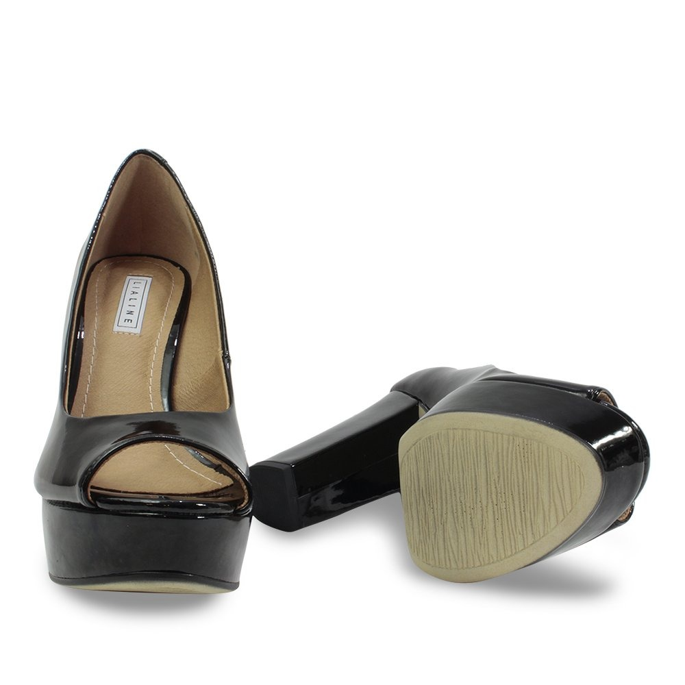 941734457 Sapato Peep Toe Feminino Lia Line Preto Verniz 1707 - R$ 170,90 em ...