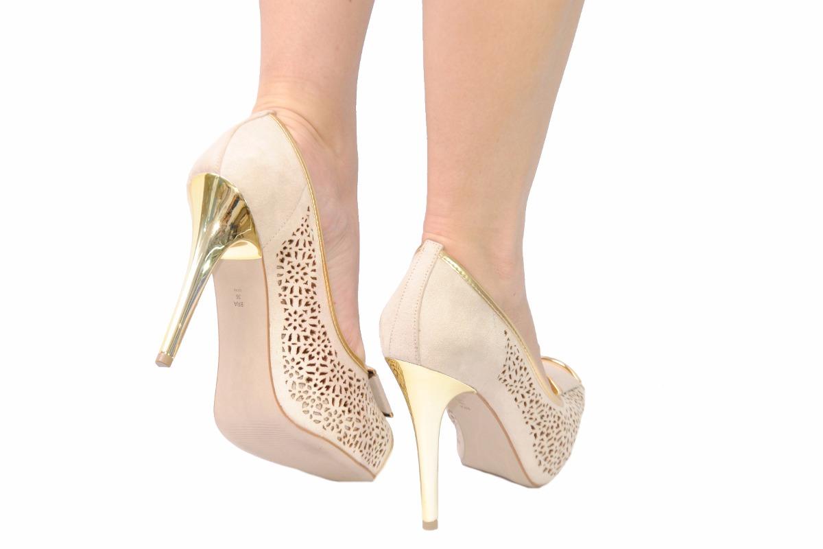 aa2a4bec27 Carregando zoom... sapato feminino peep toe plataforma salto bege festa  miucha