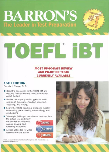 toefl barron's toefl ibt,15th edition +2 cds audio original