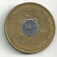 token (ficha) bimetálico de charlotte $1 dolar (2000)