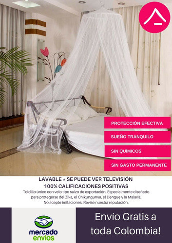 toldillo para cama king - mosquitero redondo de lujo