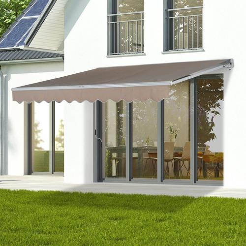 toldo carpa para sol y patio retractil 4 x 2.5 metros beige