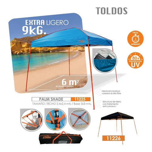 toldo parasol plegable 3x3 para eventos palm shade ecology