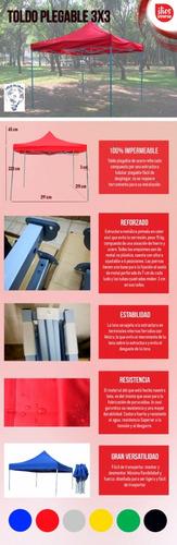 toldo plegable 100% impermeable 3x3 acero reforzado