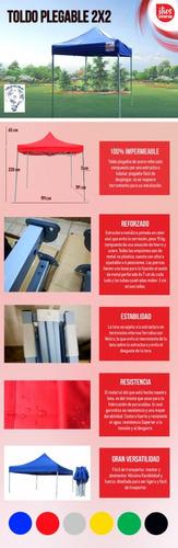 toldo plegable 2x2 acero reforzado uso rudo 100%impermeable