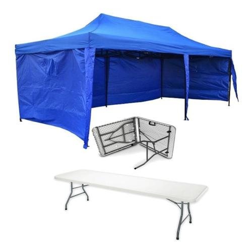 toldo plegable 3x6 paredes azul + mesa plegable 1.8 mt r5295