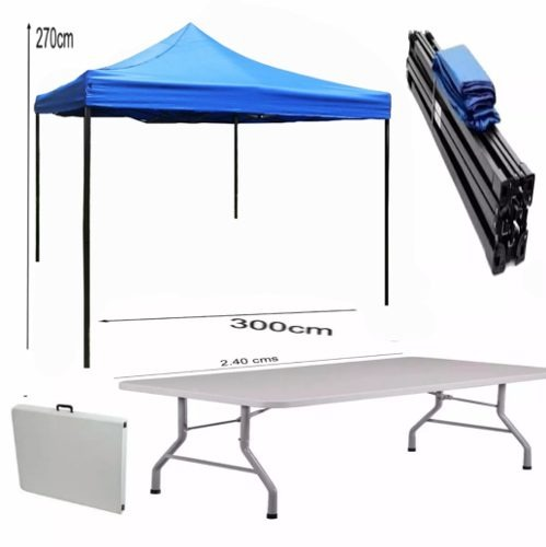 Toldo plegable azul 3x3 mesa 1 8 plegable maleta r5325 for Toldo plegable 3x3