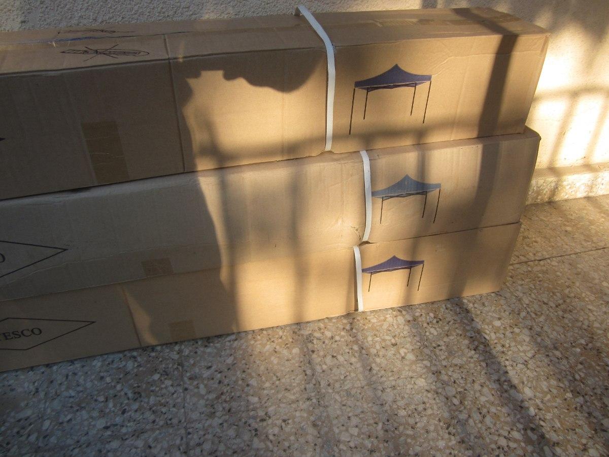 Toldo plegable azul 3x3 metal lona nuevos en caja 29 for Toldo plegable 3x3