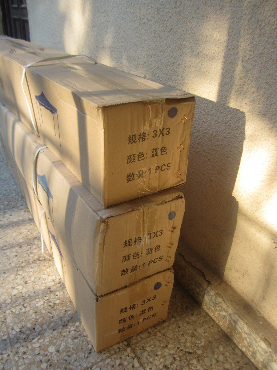 Toldo plegable azul 3x3 metal lona nuevos en caja 29 for Alfombras 3x3 metros