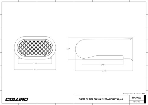 toma de aire scoop collino para carburador v8 ford chevrolet