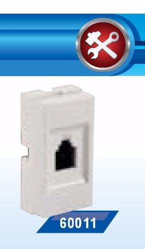 toma teléfono americano jeluz rj11 4 vias blanco 60011