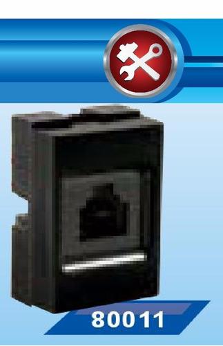 toma teléfono americano jeluz rj11 4 vias negro 80011