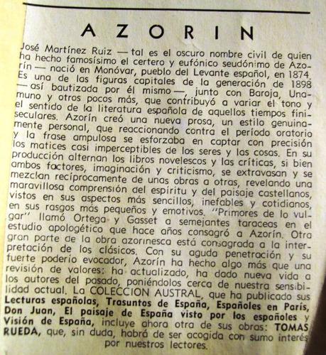 tomás rueda azorín editó espasa calpe austral españa 1941