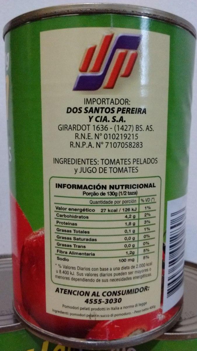 Tomates Pelados Peritas Italianos X 400 Gr. Gentleman - $ 30,90 en ...