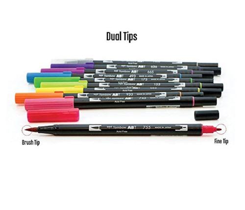 tombow 10-pack doble pluma del cepillo del arte marcadores,