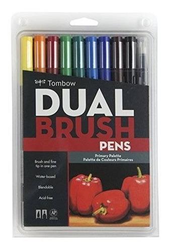 tombow dual brush pen arte marcadores primaria 10-pack