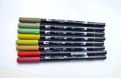 tombow dual brush pen set 8 colores terrosos