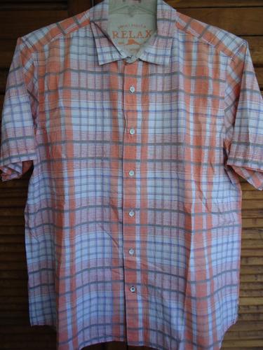 tommy bahama camisa en talla l 100% algodón.