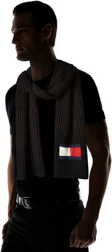 tommy hilfiger bufanda con logo de punto de hombre, negra