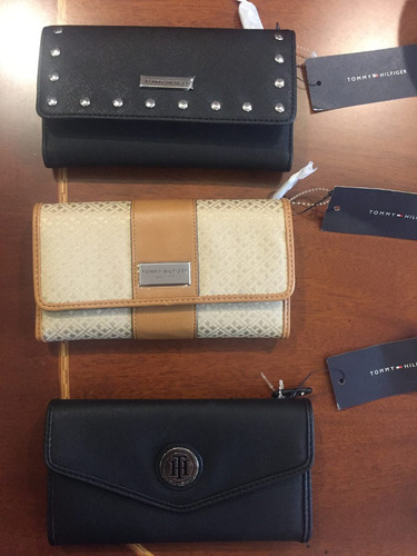 tommy hilfiger hermosas billeteras color negro y beige