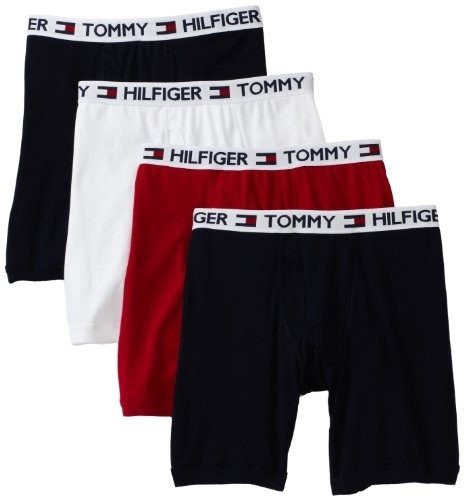 tommy hilfiger hombre 4 pack boxer brief, rojo / marino / bl