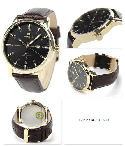 tommy hilfiger pulseira couro marrom - original 1710329