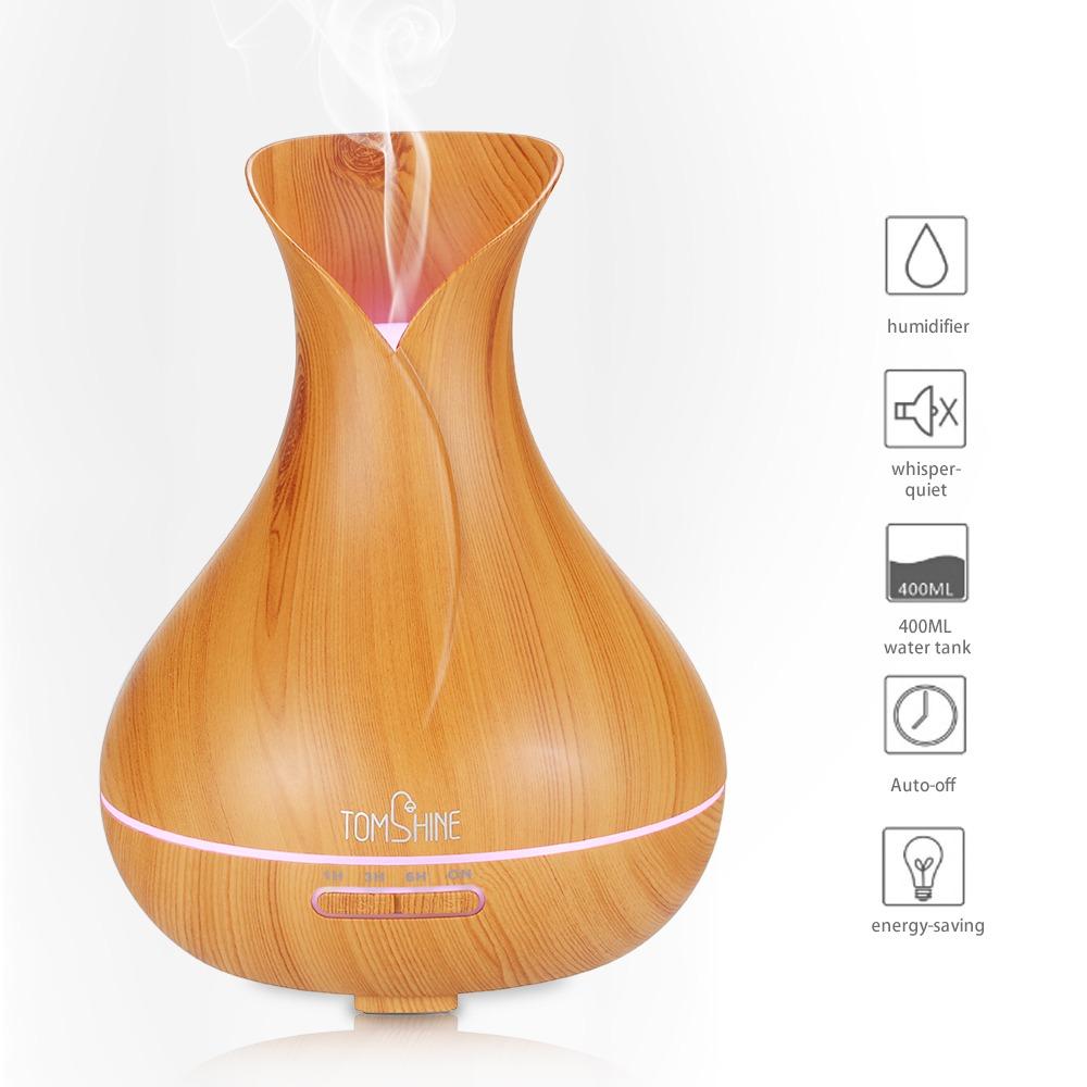 REFURBISHHOUSE 400 Ml de Humidificador de Aire El/éCtrico Ultras/óNico Difusor de Aceite de Aroma Blanco Grano de Madera 7 Colores Luces Led para el Hogar Enchufe de la UE