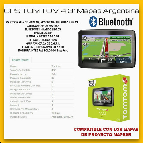 tomtom via 1430 gps lcd 4.3'' bluetooth manos libres mapear