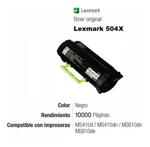 toner lexmark original 504x ms410 415 610 extra cap. backup