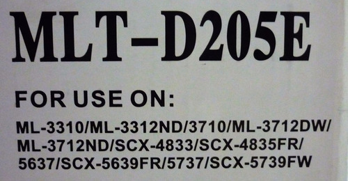 tóner samsung d205e genérico ml3310/ 3313nd - 10,000 páginas