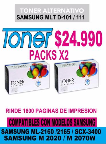 toner samsung mlt-d101/111 ml-2160/2165/m2020 /m2070 pack x2