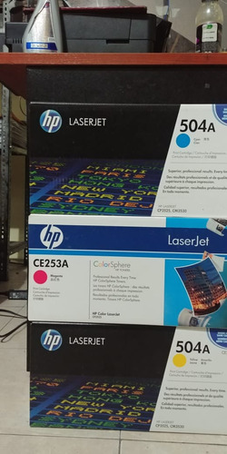 toners hp laserjet 504a para impresora a color hp