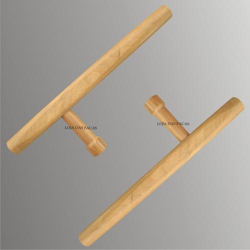 tonfa em madeira kit c/ 2 pçs- karate- treinamento