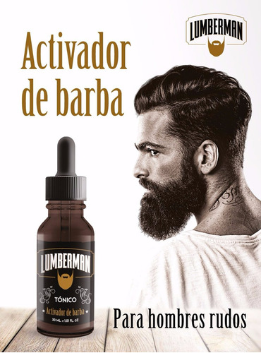tónico barba lumberman, crecimiento . envio gratis, invima