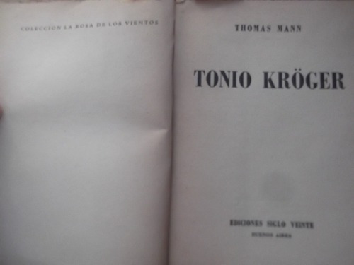tonio kroger thomas mann premio nobel siglo veinte