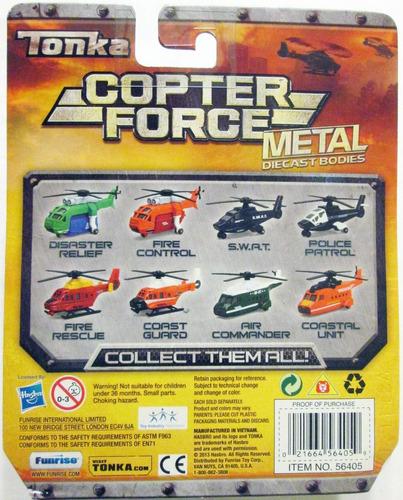 tonka copter force - helicóptero policías y bomberos, hasbro