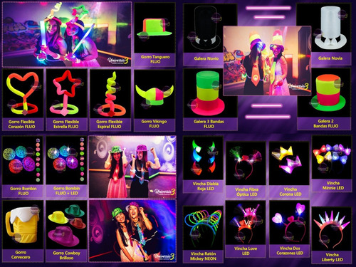 top 100 art. combo cotillon luminoso led neon fluo carioca !