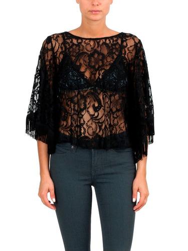 top blusa remera de gasa y encaje mujer brishka, s-0029