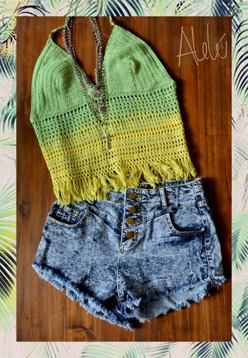 Top Crochet Largo Remera Flecos - $ 900,00 en Mercado Libre