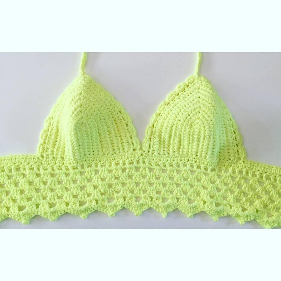 Top Crop Bikinis Tejidos Al Crochet 2017/18 - $ 420,00 en Mercado Libre