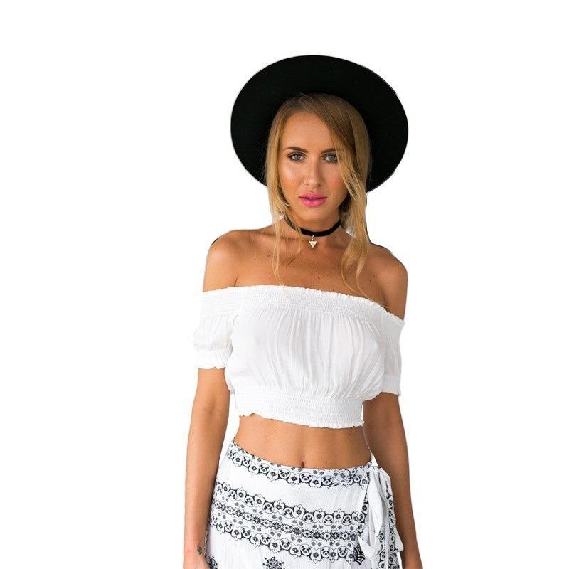 0cb4fd71e Top Cropped Branco Ombro A Ombro Boho Sexy Blusinha Bata - R$ 41,00 ...