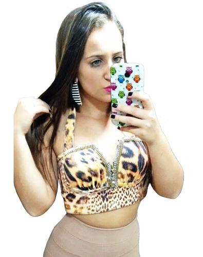 top cropped joão & maria tigrado animal print marrom dourado