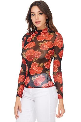 top cuello tortuga flores en mesh