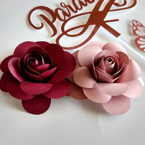top de bolo parabens 12 cm+  2 flor papel borboleta festa
