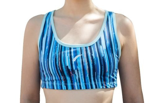 top deportivo karosso azul de licra para mujer