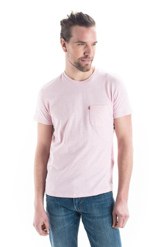 top levi's® hombre ss set-in sunset pocket pink nectar heath