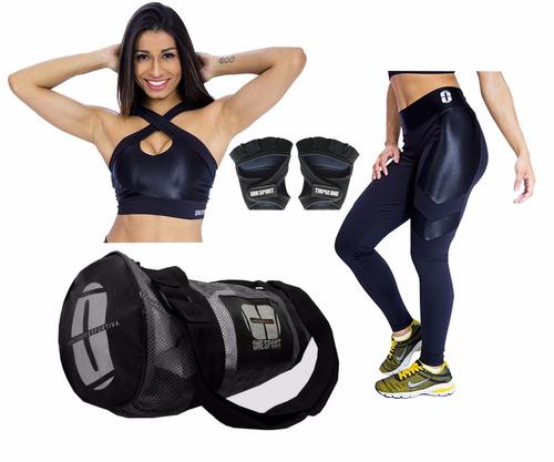 top para malhar + calça legging + luva academia + bolsa