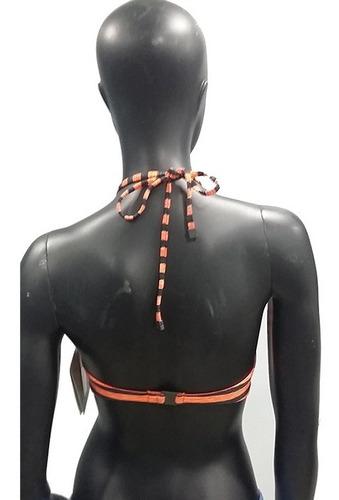 top para traje de baño naranja de damas oakley.
