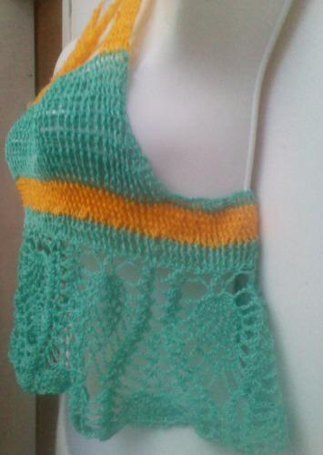 top playero tejido a crochet verde y amarillo